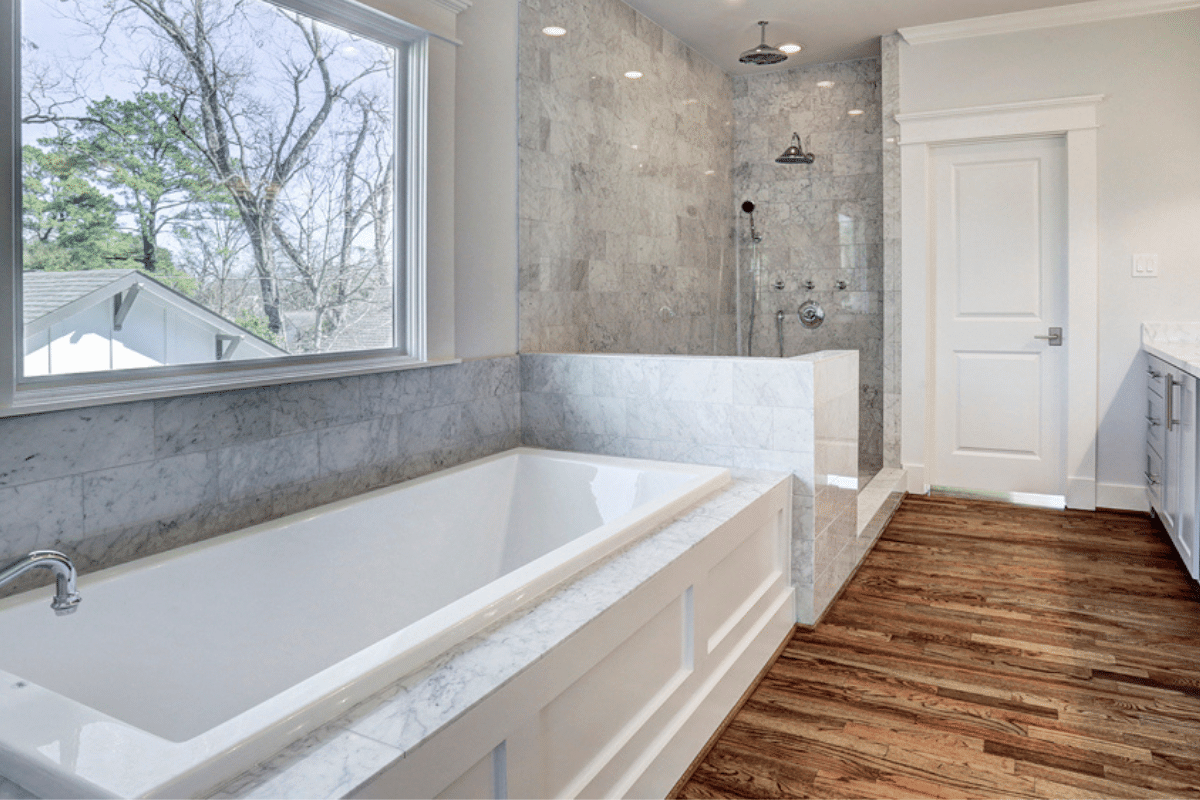Master Bathroom with Wood Floors