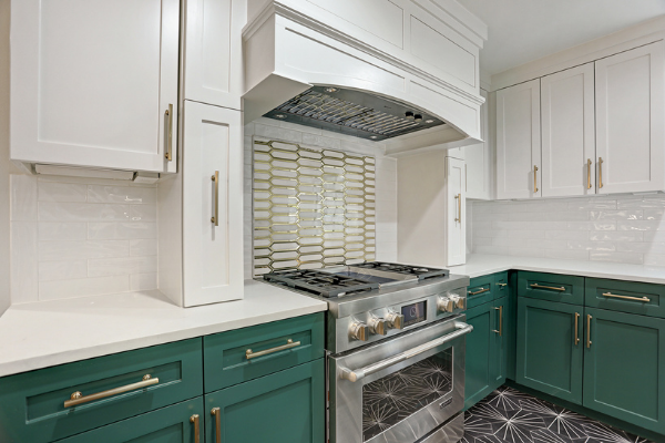 Green and White Kitchen Countertop Remodel Houston