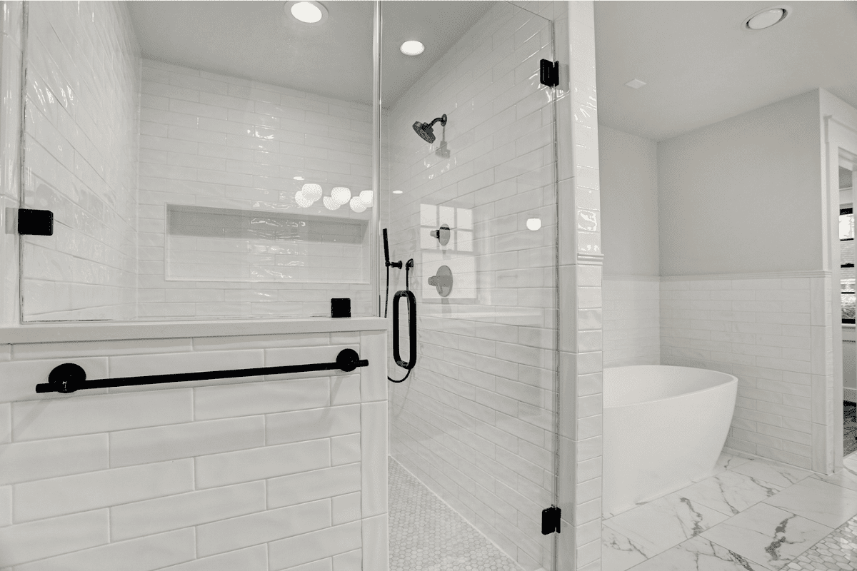 Modern Houston Bathroom Remodel All White Tile