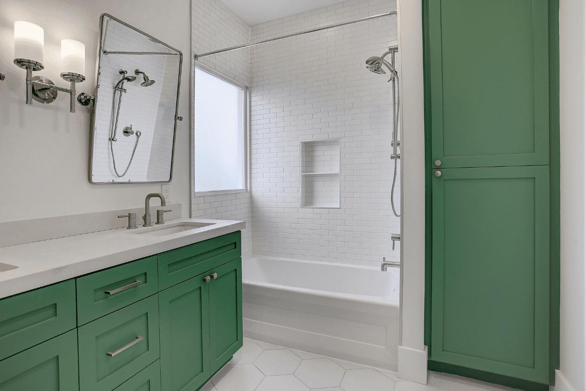 Green Cabinets in Custom Bathroom in Houston