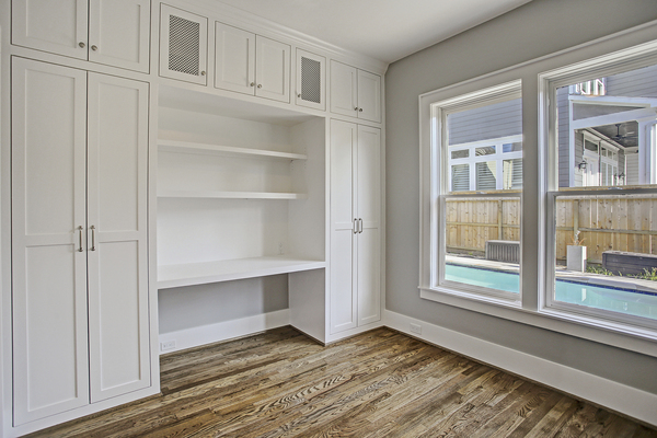 Custom Built-in Storage Space by Houston Home Builders and Remodelers