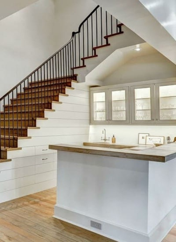 In-home bar with ship lap drawers and stair storage
