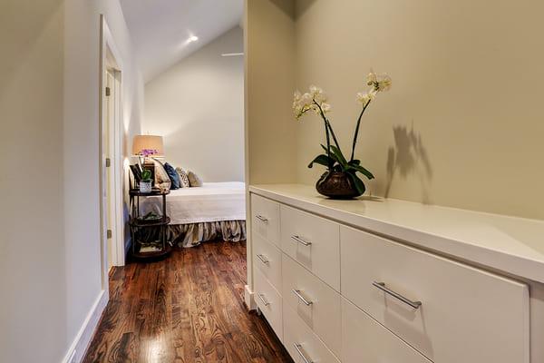 Custom Built With a White Narrow Narrow Hallway Dresser