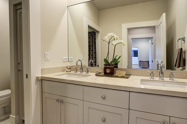 Custom Home Bathroom With Double Vanity Sink