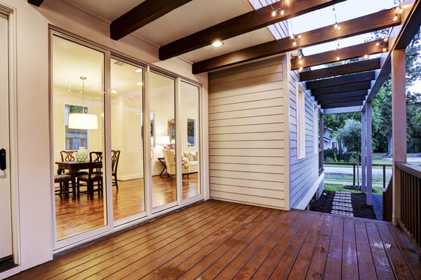 Outdoor Deck With Custom Patio Lights in Houston Texas