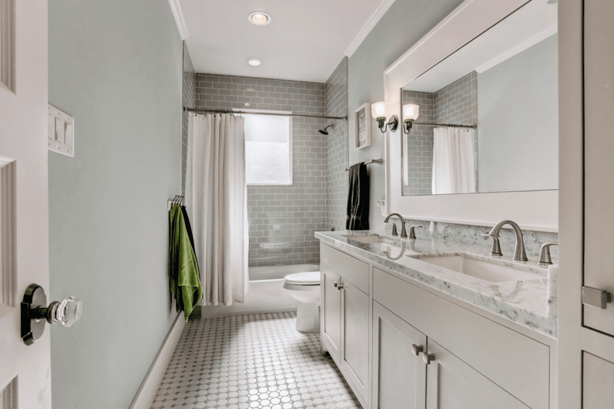 Custom Bathroom with Built-in Storage Space in Houston Texas
