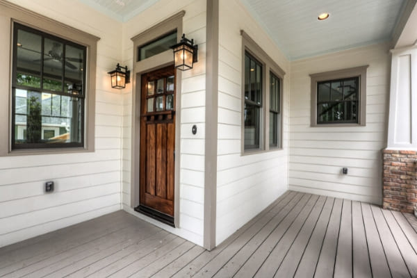 Craftsman style door on custom home in Houston, Texas