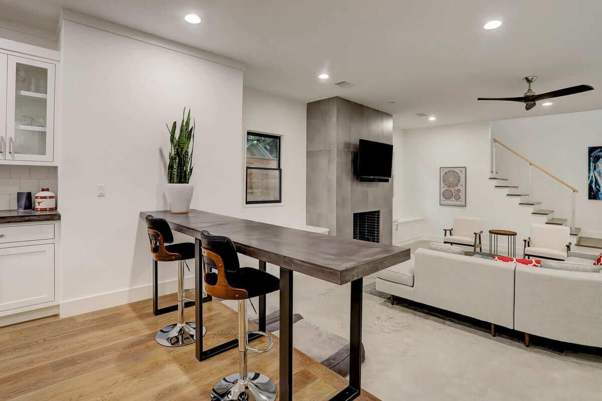Ashland 1418 Houston Additon & Remodel Living Room from Open Floor Plan Kitchen
