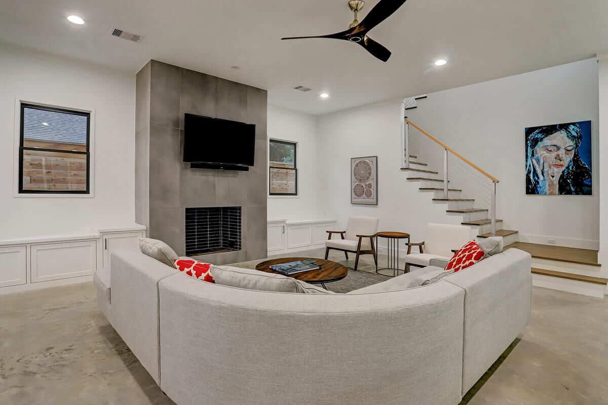 Ashland 1418 Houston Additon & Remodel Living Room with Fireplace