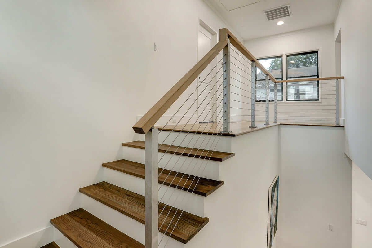 Ashland 1418 Houston Additon & Remodel Stairs with Modern Wire Railings