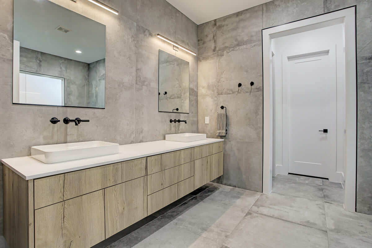 Oxford Street Home Remodel Master Bathroom with Floated Vanity