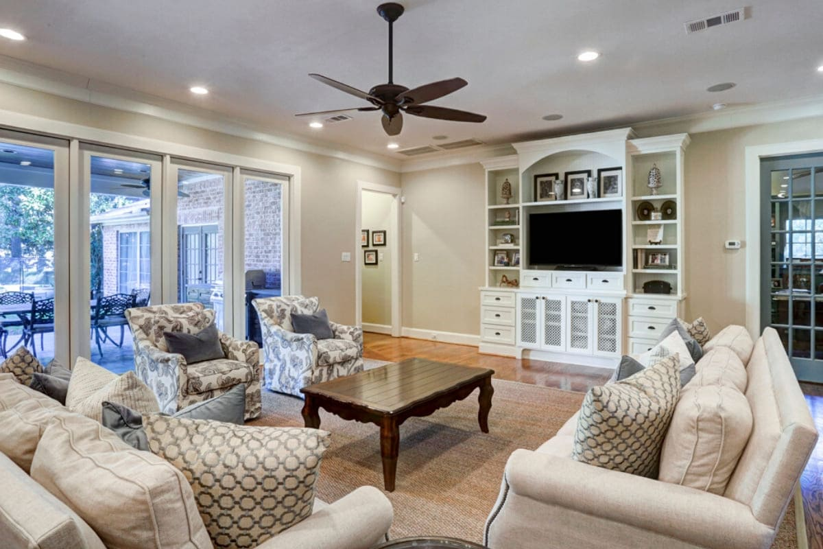 Custom luxury living room remodel in Houston, Texas by Southern Green Builders