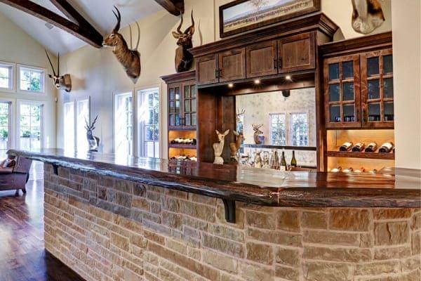 Custom in-home bar in trophy room in Houston, Texas