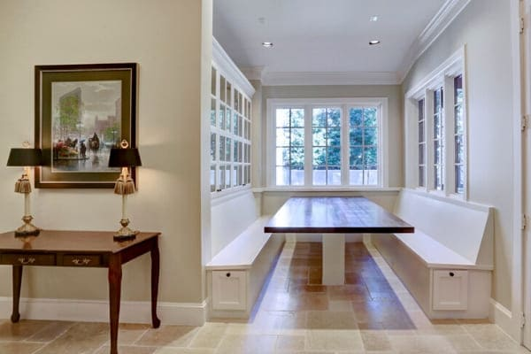 Built-in table and seating in a breakfast nook in Houston, Texas remodel