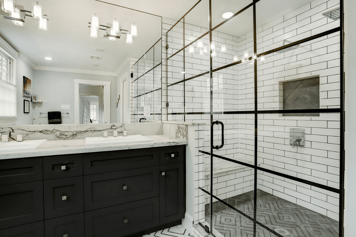 Divided Shower Glass in a Historic Home Renovation in the Houston Heights